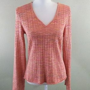 Multi-Colored Lacy Knit Sweater with Gold Threads